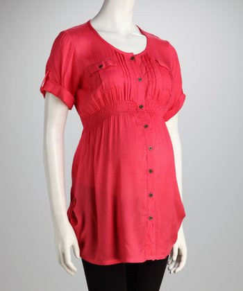 Coral Maternity Button-Up Tunic