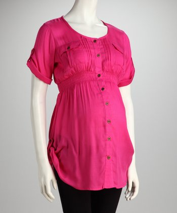 Fuchsia Maternity Button-Up - Women