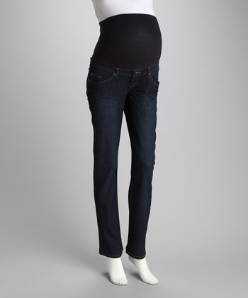 Dark Gem Over-Belly Maternity Straight-Leg Jeans