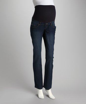 Medium Wash Gem Over-Belly Maternity Straight-Leg Jeans