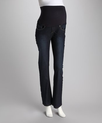 Dark Wash Over-Belly Maternity Bootcut Jeans