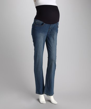 Light Wash Over-Belly Maternity Bootcut Jeans - Women