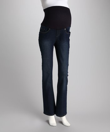 Medium Wash Over-Belly Maternity Bootcut Jeans