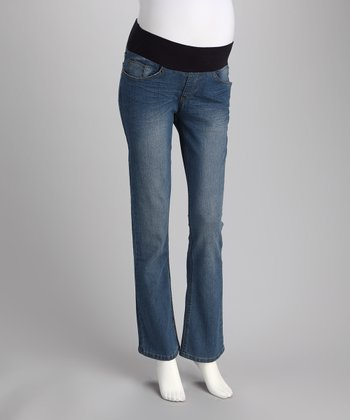 Light Wash Under-Belly Boot Cut Maternity Jeans