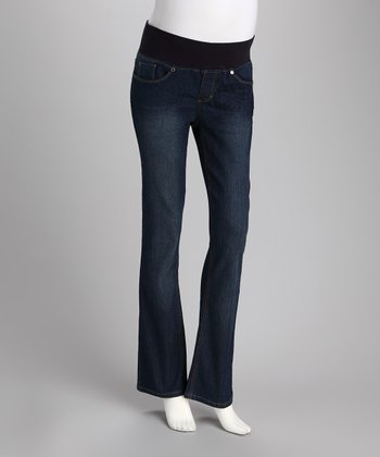 Medium Wash Under-Belly Boot Cut Maternity Jeans