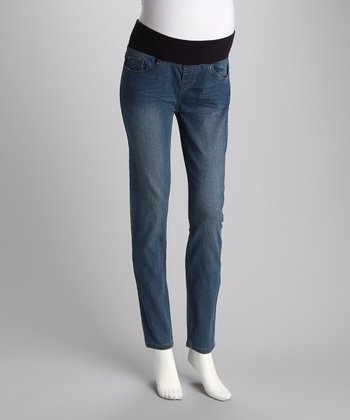 Light Wash Under-Belly Slim Leg Maternity Jeans