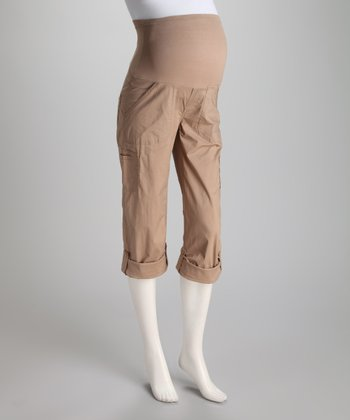Khaki Poplin Over-Belly Maternity Convertible Pants