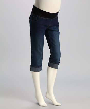 Medium Wash Under-Belly Maternity Capri Jeans