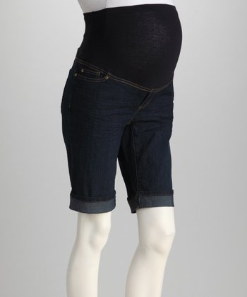 Dark Denim Cuffed Over-Belly Maternity Bermuda Shorts - Women