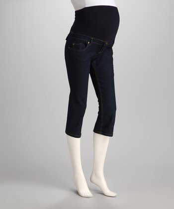 Dark Denim Over-Belly Maternity Capri Pants - Women