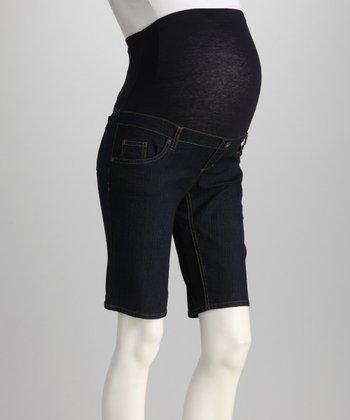 Oh! Mamma Dark Denim Over-Belly Maternity Bermuda Shorts - Women