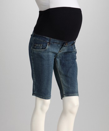 Vintage Denim Over-Belly Maternity Bermuda Shorts - Women