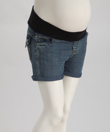 Light Wash Under-Belly Maternity Denim Shorts