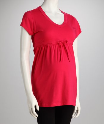 Dark Coral Drawstring Maternity Top