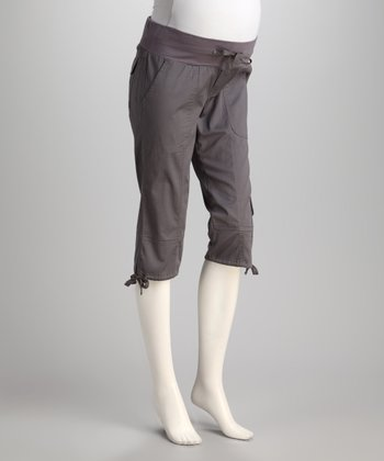 Gray Under-Belly Maternity Capri Pants