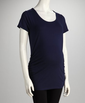 Navy Button Ruched Maternity Tee