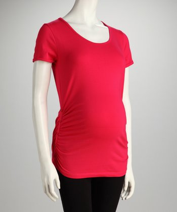Dark Coral Button Ruched Maternity Tee