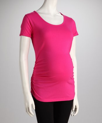 Fuchsia Button Ruched Maternity Tee