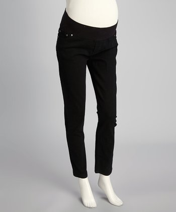 Black Twill Under-Belly Maternity Skinny Pants