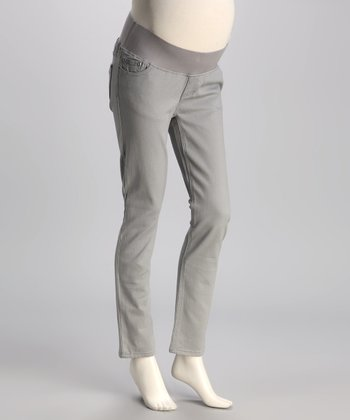 Gray Twill Under-Belly Maternity Skinny Pants