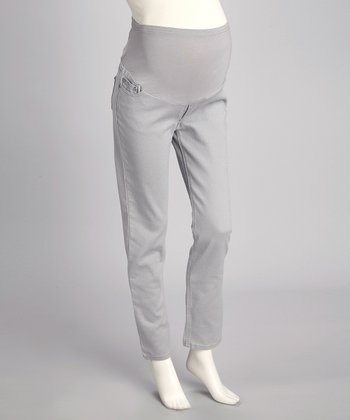 Gray Twill Over-Belly Maternity Skinny Pants