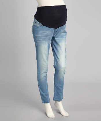 Light Wash Super-Soft Over-Belly Maternity Skinny Jeans - Women