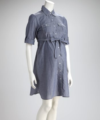 Blue Chambray Maternity Shirt Dress