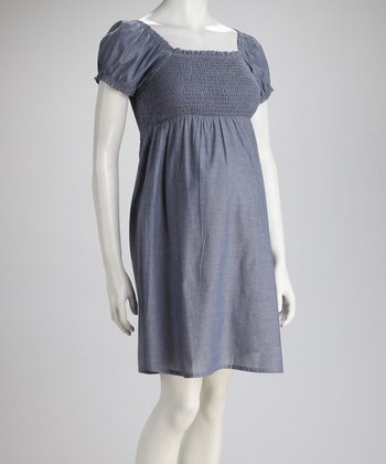 Blue Chambray Shirred Maternity Dress