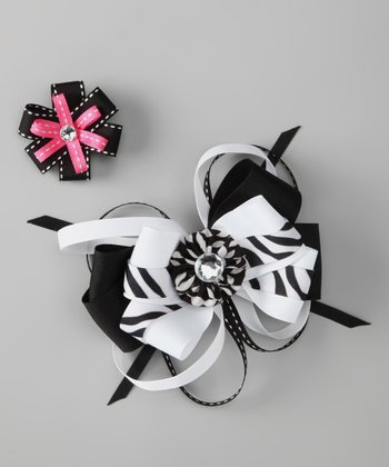 Black & Pink Zebra Bow & Flower Clip Set