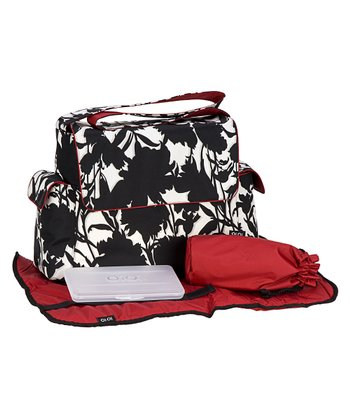 Black & White Floral Messenger Diaper Bag
