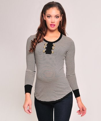 Black & Ivory Stripe Maternity Tee