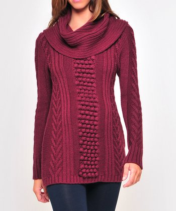 Olian Wine Maternity Cowl Neck Sweater