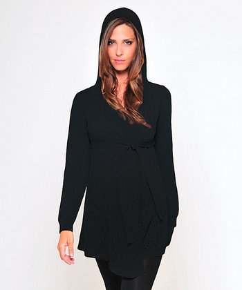 Olian Black Wool-Blend Maternity Hooded Sweater