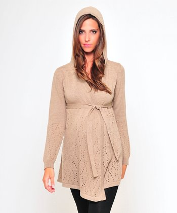 Olian Khaki Wool-Blend Maternity Hooded Sweater
