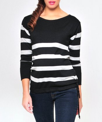 Olian Black & Gray Stripe Wool-Blend Maternity Sweater