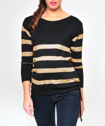 Olian Black & Khaki Stripe Wool-Blend Maternity Sweater