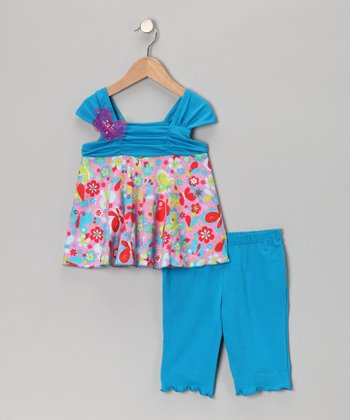 Turquoise Butterfly Tunic & Leggings - Infant, Toddler & Girls