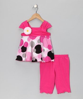 Pink Polka Dot Tunic & Leggings - Infant, Toddler & Girls
