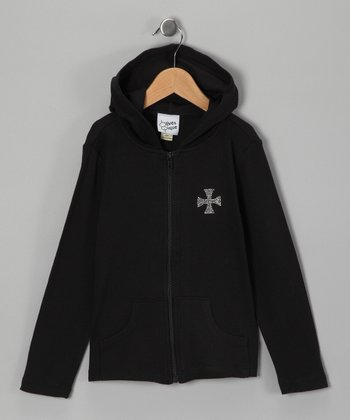 Black Rhinestone Vintage Cross Zip-Up Hoodie - Girls