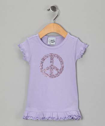 Lavender Rhinestone Peace Sign Dress - Infant, Toddler & Girl