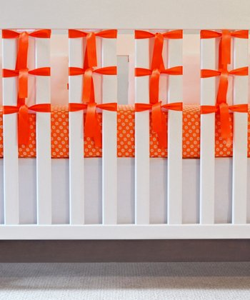 Orange & White Mod Dot Crib Bedding Set
