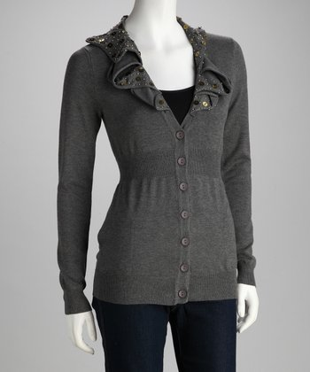 Charcoal Gray Embellished Cardigan