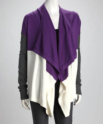 Purple & White Color Block Open Cardigan