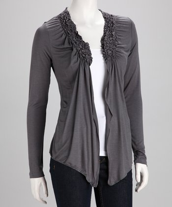 Gray Gathered Open Cardigan
