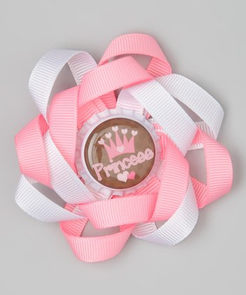Pink & Brown 'Princess' Crown Bow Clip