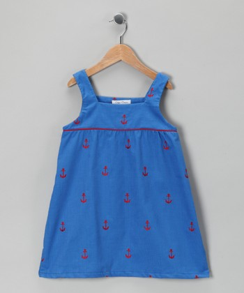 Marine Blue Anchor Corduroy Swing Dress - Infant, Toddler & Girls