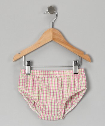 Pink & Green Gingham Diaper Cover - Infant