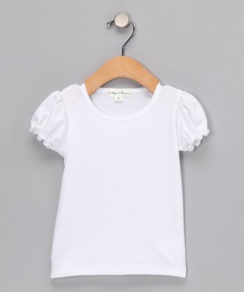 White Puff-Sleeve Tee - Infant, Toddler & Girls
