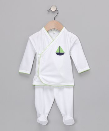 Green Sailboat Wrap Top & Footie Pants
