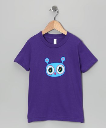 Olly Oogleberry Purple Faceman Tee - Girls